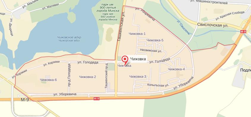 Микрорайон Чижовка на карте Минска