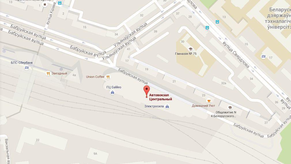 Карта Минска Восточный Вокзал